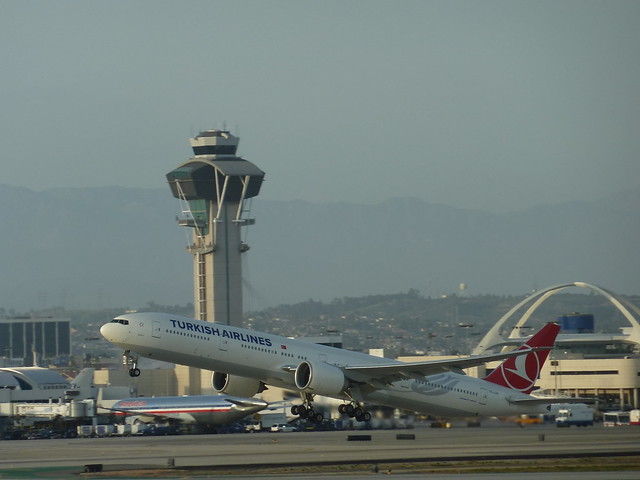 Turkish Airlines Boeing 777-300ER jet at take-off from LAX in Los Angeles