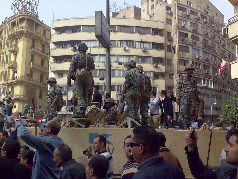Army Truck and Soldiers in Tahrir Square, Cairo