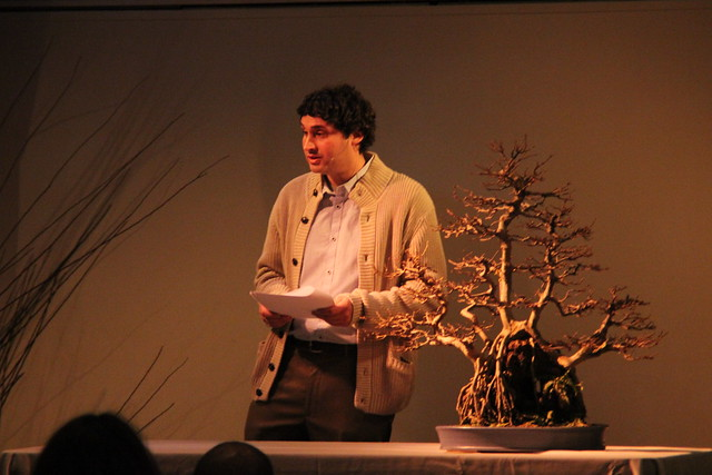 Bonsai curator Julian Velasco gives a talk on the art of bonsai. Photo by Rebecca Bullene.