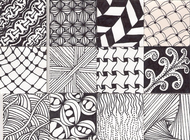 Zentangle pieces a gallery on flickr for Drawing patterns for beginners