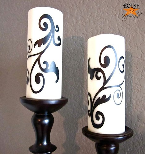 Adding vinyl to candles for a custom look for Candle design for debut