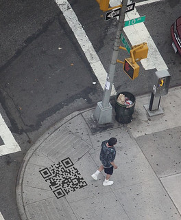 Illustration: sidewalk with QR code