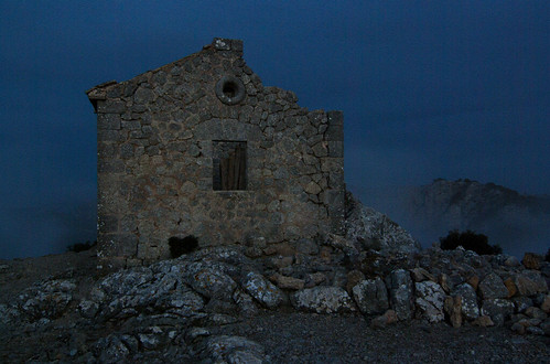 Summit chapel ruins after dusk
