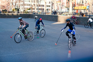 Guys playing Bike Polo in the LES