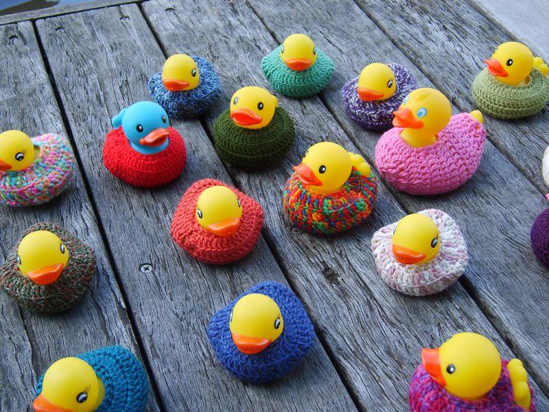 Yarn Bomb - ducks in the river