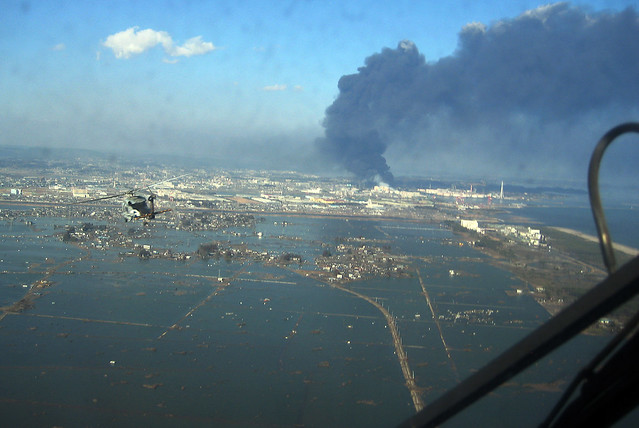 Aerial of Sendai, Japan, following earthquake.