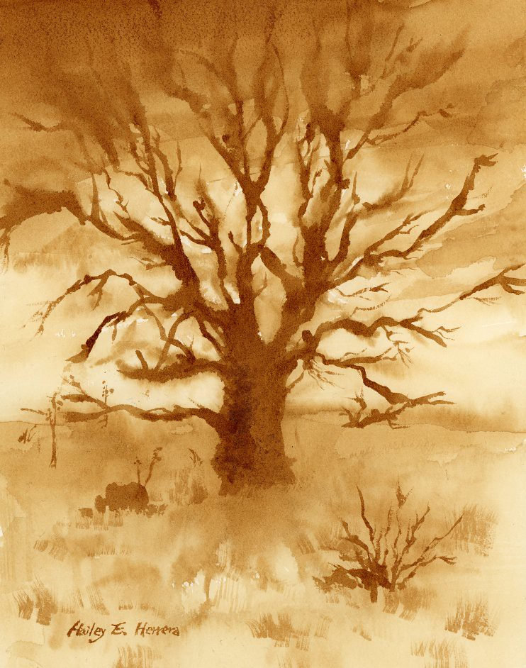 Lone Tree ( Paint with Coffee )