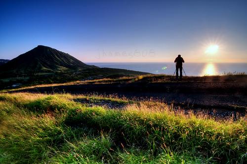 camera shadow reflection silhouette sunrise nikon horizon tripod hike hanaumabay d300s tokina1116mm jhames808 jhamesphotography kokoheadlooptrail henryaguilarakajhames808