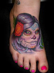 Day Of The Dead Girl Foot Tattoo Damien Lugo At Southern So Flickr