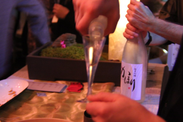 Free-flowing sake at Small Scale. Photo by Rebecca Bullene.