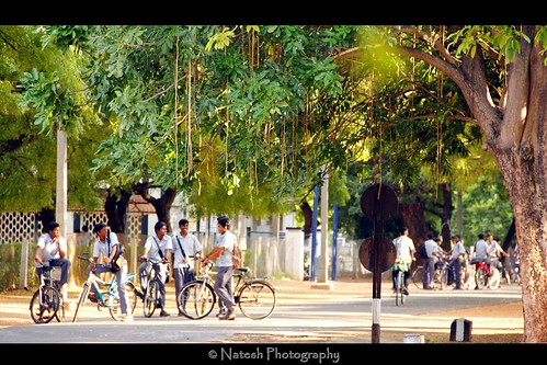 Indian students on bicycles