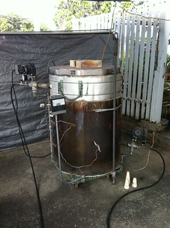 Electric kiln converted to gas