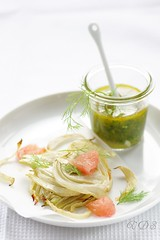 Roasted fennel with grapefruit salsa verde