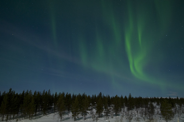 A photo of the Northern Lights above Ruka, Finland