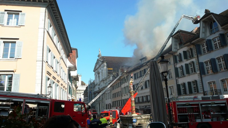 Fire in the old town of Solothurn