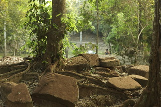 Image of  West Gate. trees sculpture stone temple ruins cambodia hand causeway westgate ankorthom