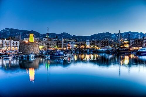 Girne in blue hour,North Cyprus