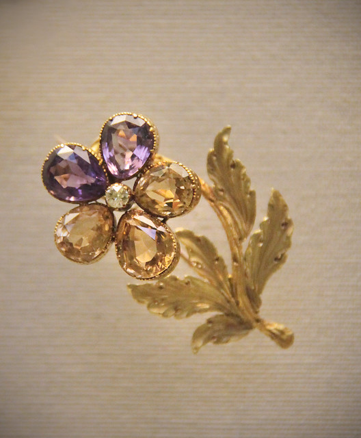 Amethysts, citrine and coloured gold, English, mid 19c