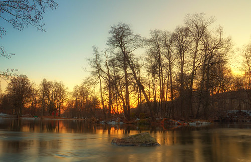 trees sunset lake snow nature rock speed fire evening long exposure time sweden branches shutter sverige hdr eskilstuna waterscape eskilstunaån