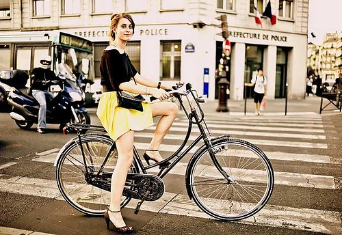 French girl on bike