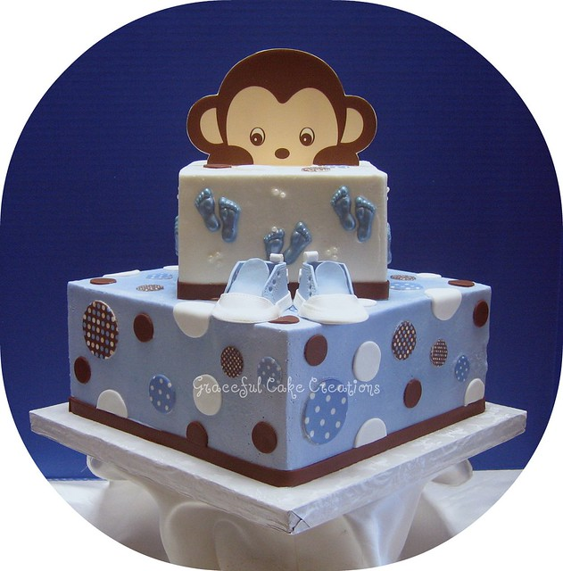 Blue And Brown Baby Shower Cake Explore Graceful Cake Crea Flickr Photo Sharing
