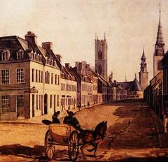 Montréal 1830. Rue Notre-Dame >Ouest, depuis la Place Jacques Cartier.