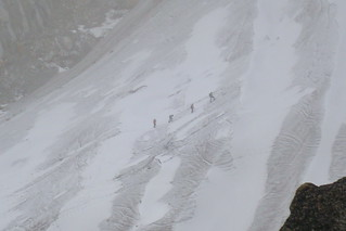 Climbers in the storm