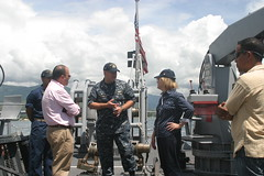 TIMOR LESTE (April 18, 2011) U.S. Ambassador to the Democratic Republic of Timor Leste, Judith Fergin talks with USS Guardian's (MCM 5) commanding officer, Lt. Cmdr. Ken Brown,on the fantail of the ship during a visit. Ambassador Fergin visited the command to discuss training and service projects with the Timor Leste Navy and local community. (U.S. Navy photo by Ensign Justin Van Es)