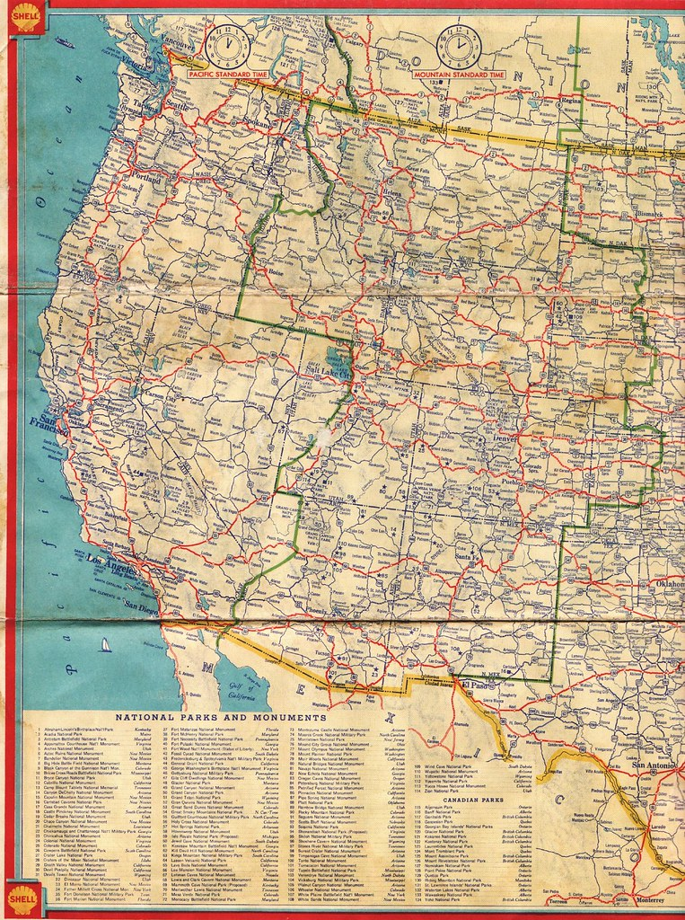 Road Map Of The Us States.1934 Shell Road Map This Western United States Highway Map Flickr