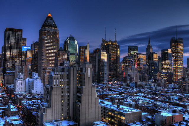 Blue Hour at Midtown Manhattan - A Crystal Wonderland - Reprocessed with Photomatix