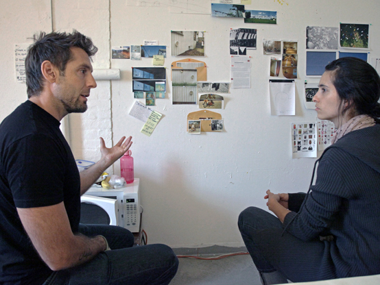 John Jurajy during a studio critique