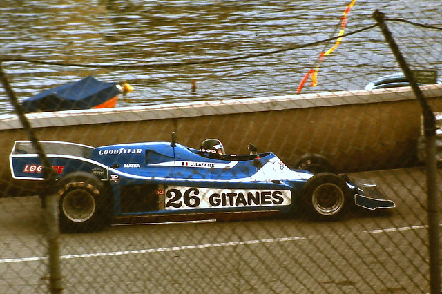 Jacques Laffite - Ligier JS9  enters the swimming pool complex during the 1978 Monaco Grand Prix