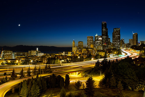 Moon Over Seattle Downtown Skyline