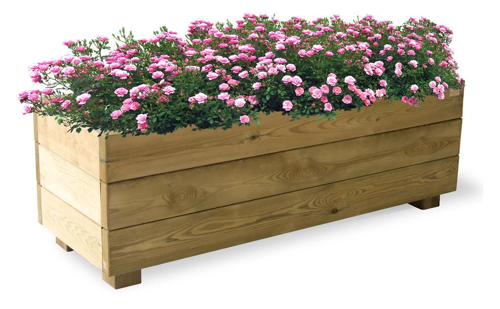 macetero rectangular de madera de pino de suecia formentera
