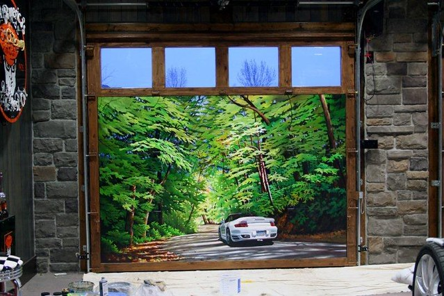 Hand Painted Carriage Style Garage Doors Porsche Scene