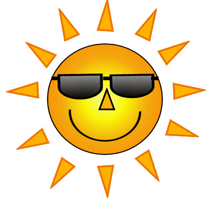 yellow smiley sun with sunglasses  7 cm