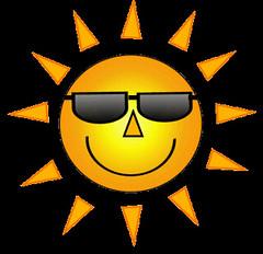 yellow smiley sun with sunglasses  7 cm