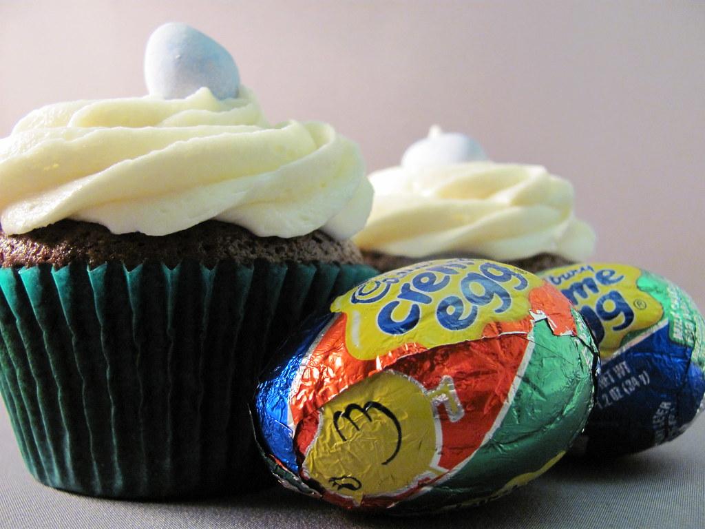 Cadbury creme egg inside a cupcake and butter brickle ...