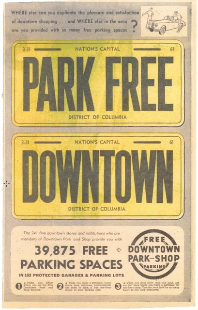 Park Free Downtown ad, Washington Post, 1/22/1961, page A11 (scan)