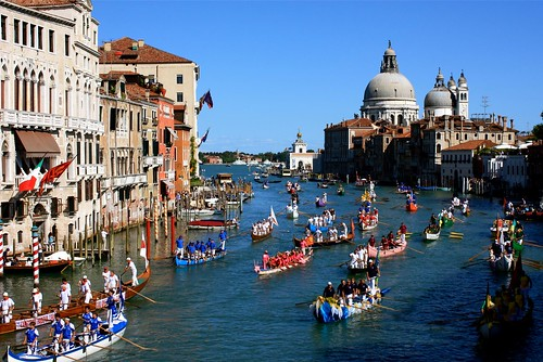 Gondola Regatta in Venice, down the Grand Canal