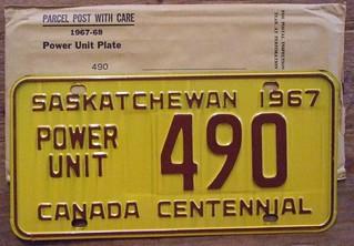 SASKATCHEWAN 1967 ---POWER UNIT LICENSE PLATE with MAILING ENVELOPE