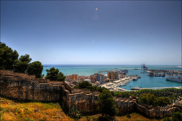 View from Castillo de Gibralfaro about the harbor of Malaga