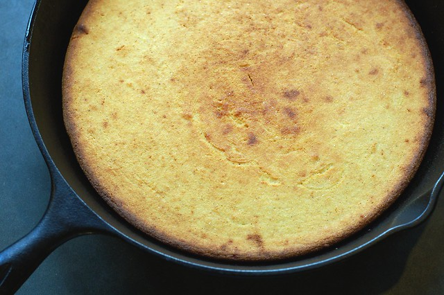Skillet corn bread by Eve Fox, Garden of Eating blog, copyright 2011