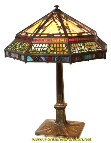 Bradley and Hubbard Overlay Panel Lamp