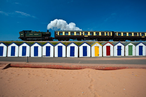 Steam and Beach Hut at Goodrington Sands by Matt McNulty