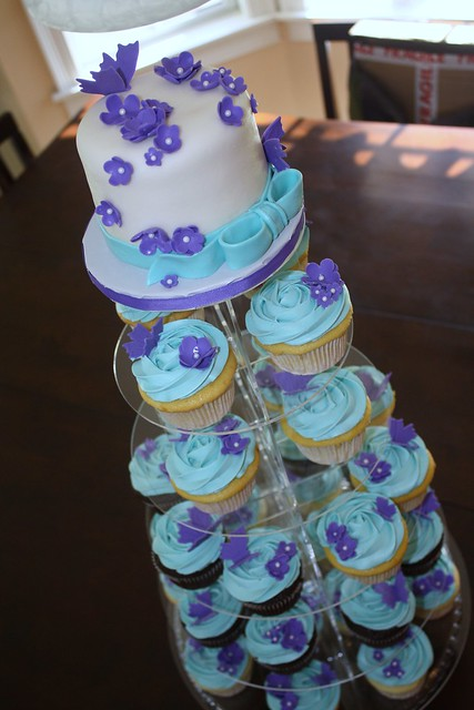 Teal and purple wedding shower I was asked to make a cupcake tower and mini