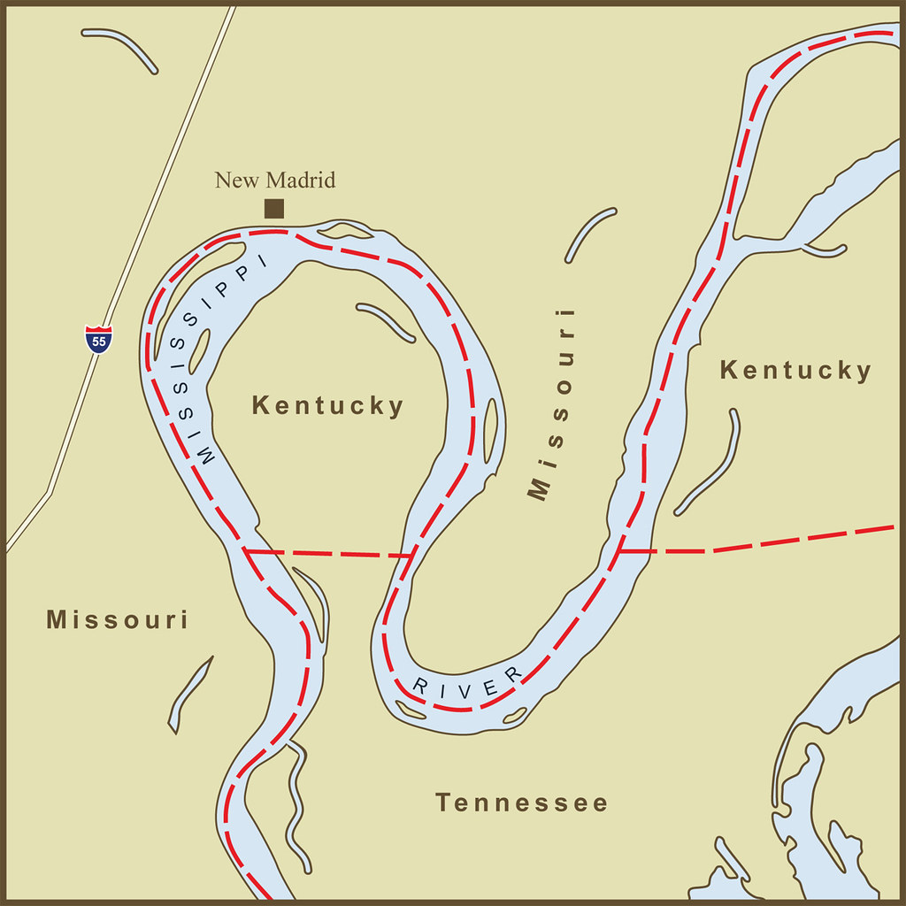 A Map of the Strange Kentucky Border at the New Madrid Bend in the Mississipp