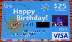 Blue Vanilla Happy Birthday Visa Gift Card