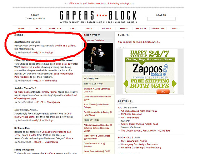 My work cube featured on Gapers Block