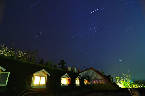 Star trails over cottage